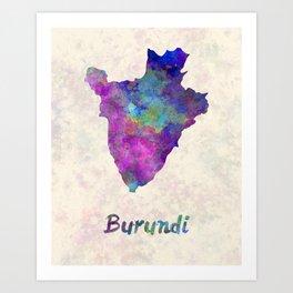 Burundi in watercolor Art Print