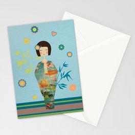Kokeshi Geisha Japan Green Stationery Cards