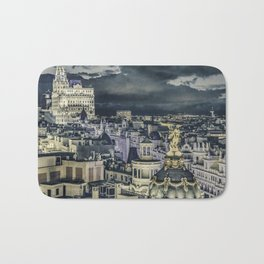 Madrid Cityscape Night Scene Aerial View Bath Mat