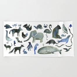 Animals in Black (and blue) Beach Towel