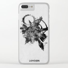 London, United Kingdom Black and White Skyround / Skyline Watercolor Painting Clear iPhone Case