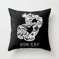 rat Throw Pillows featuring Gym Rat by Textures