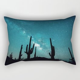 BLUE NIGHT SKY MILKY WAY AND DESERT CACTUS Rectangular Pillow