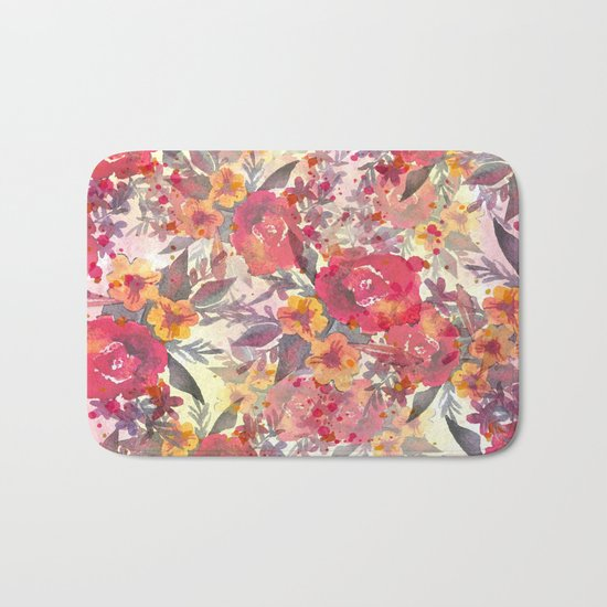 Watercolor flowers and plants Bath Mat