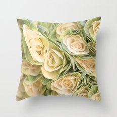 Greenyellow roses Throw Pillow