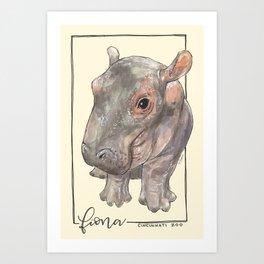Fiona the Hippo - Bashful Art Print