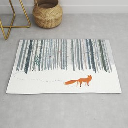 Fox in the white snow winter forest illustration Rug