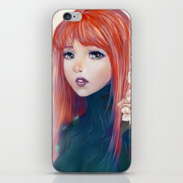 Captain Goldfish - Anime sci-fi girl with red hair portrait iPhone Skin