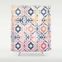ikat Shower Curtains featuring Tropical Ikat Damask by micklyn