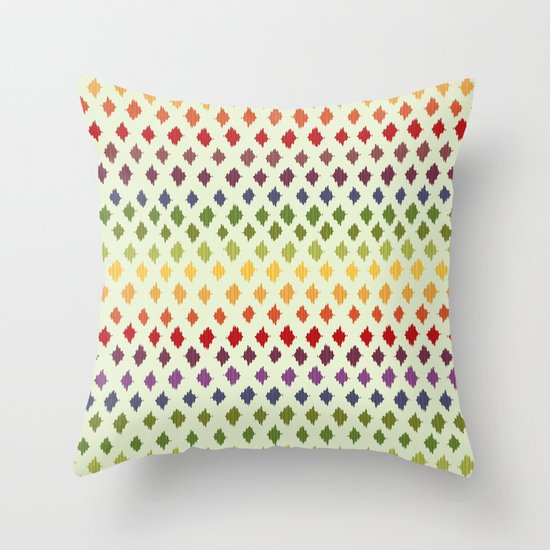 Rainbow Ikat Pattern Throw Pillow