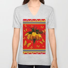 DECORATIVE RED YELLOW FRAMED BUTTERFLIES CROWN IMPERIAL Unisex V-Neck
