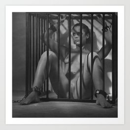 Photograph Nude Woman in a Cage - Black and white image Art Print