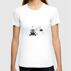 pixar walle and eve love and romance... minimalistic White Womens Fitted Tee SMALL