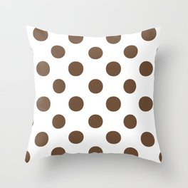 Polka Dots (Coffee/White) Throw Pillow