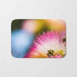 Exotic summer pink silk tree mimosa flower Bath Mat