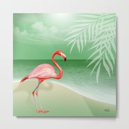 FLAMINGO BEACH | jade Metal Print