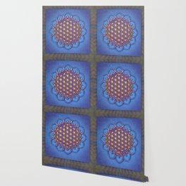 Flower Of Live Lotus - Golden Shine On Blue Beauty II Wallpaper