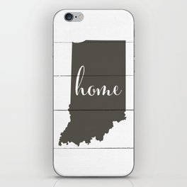 Indiana is Home - Charcoal on White Wood iPhone Skin