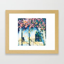 Old Porch of Pink and Teal by CheyAnne Sexton Framed Art Print