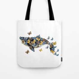 Watercolor whale with butterfly Tote Bag