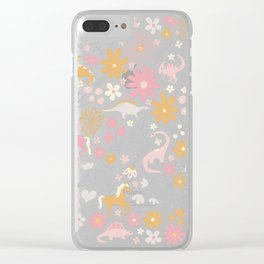 Dinosaurs + Unicorns on Gray Clear iPhone Case