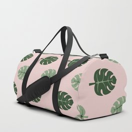 Tropical leaves Monstera deliciosa green and pink #monstera #tropical #leaves #floral #homedecor Duffle Bag