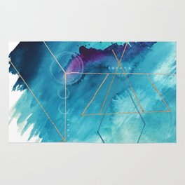 Galaxy Series [1]: an abstract mixed media piece in blue, purple, white, and gold Rug