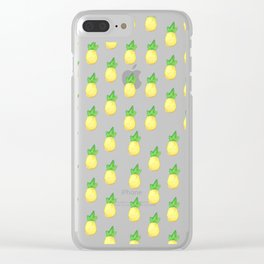 Tropical watercolor green yellow hand painted pineapple Clear iPhone Case