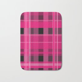 Shades of Pink and Black Plaid Bath Mat