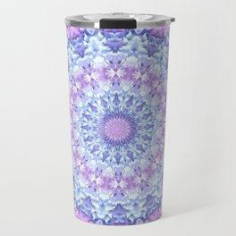 Beautiful Rose Blue Pastel Flower Mandala Travel Mug