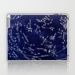 French October Star Map in Deep Navy & Black, Astronomy, Constellation, Celestial Laptop & iPad Skin