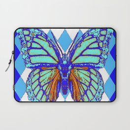 ABSTRACTED BLUE MONARCH BUTTERFLY PATTERN Laptop Sleeve