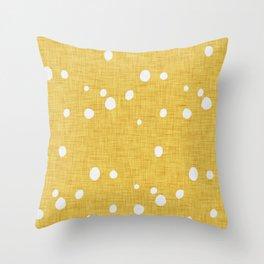 Modern Farm House Polka Dots Mustard Throw Pillow