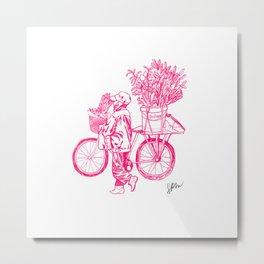 Bicycle Flower Seller in Hanoi Metal Print