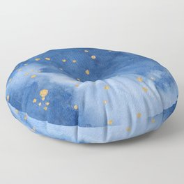 Blue and Gold Starry Night Floor Pillow