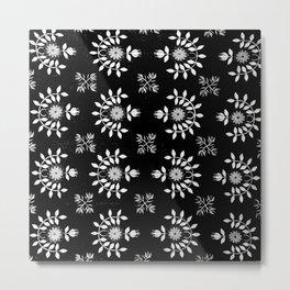 Black and White Noir Floral Prairie  Metal Print