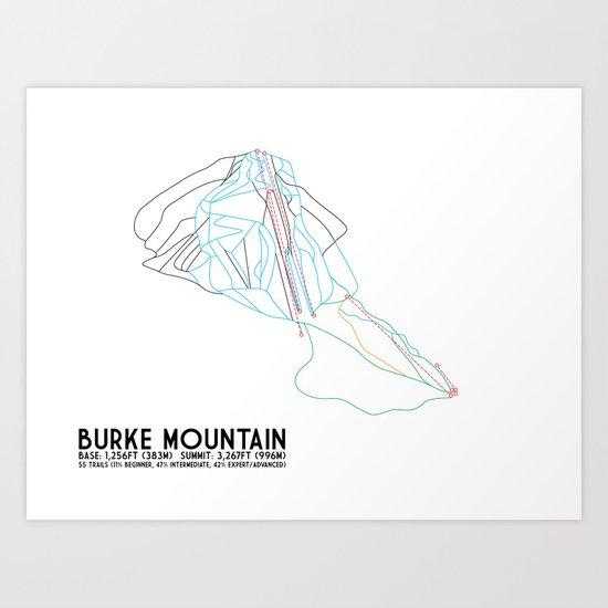 Burke Mountain, VT - Minimalist Trail Art Art Print