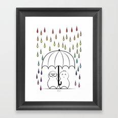 Mimos under Rainbow rain Framed Art Print