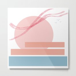 Sunset over the water Metal Print