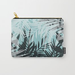 Tropical blue summer print palm leaves Carry-All Pouch