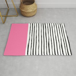 Black broken lines with pink dipdye Rug