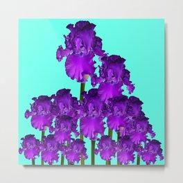 Contemporary Blue &  Purple Iris Garden Art Metal Print