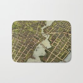 Vintage Pictorial Map of Bridgeport CT (1875) Bath Mat