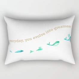 Everyday, You Evolve Into Greatness - Blue Whales Rectangular Pillow