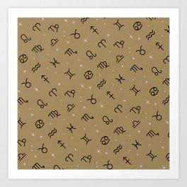 Star Constellation - Star Signs Drawing Gold Art Print