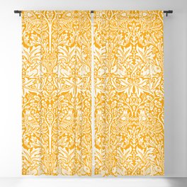 Birds and Rabbits in Marigold Sunshine Golden Yellow (William Morris 1882 Antique Vintage Pattern) Blackout Curtain