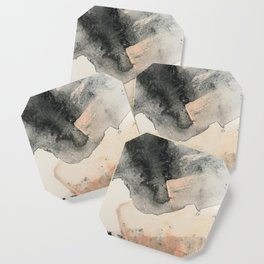 Peace and Quiet [2]: a pretty, minimal abstract piece in gray and peach by Alyssa Hamilton Art Coaster