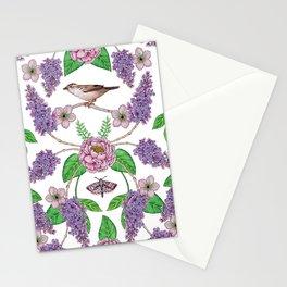 Lilacs, Peonies, Hellebore, & Sparrows - Pink & Purple Flowers w/ Birds & Moths Stationery Cards
