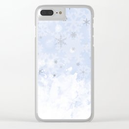 Silver snowflakes on blue Clear iPhone Case
