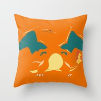 charizard Throw Pillows featuring Charizard by SEANLAR94